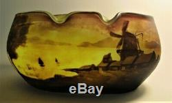 Unique & Large MULLER FRES LUNEVILLE French Cameo Glass Vase with Boats c. 1910