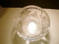 VINTAGE Lalique Crystal ISPAHAN ROSE Centerpiece Vase 9 1/2 Made in FRANCE