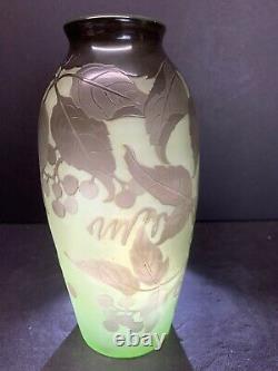 VTG 19th C. DArgental Paul Nicolas Art Glass Nouveau Cameo Scenic Vase Rare