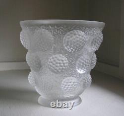 Verlys France Les Cabochons Raspberries Frosted French Art Glass Vase 1940
