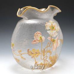 Very Large Signed Mont Joye Enamelled Vase c1900