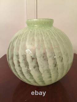 Vintage 1930's Large 9 Round Pale Green ART-GLASS VASE Signed FBS France