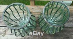 Vintage Antique Italian Art Glass Caged Vase Wrought Iron Mounted 12 LARGE PAIR