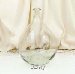 Vintage French Provencal Clear Glass Demijohn, Big Round Bottle Floor Vase
