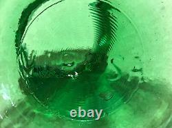 Vintage French Viresa Green Large Wide Hand Blown Bubble Glass Vase/Terrarium