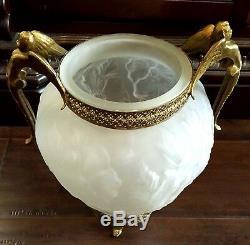 Vintage Frosted Floral Satin Glass Vase Ormolu Trim Brass Cherub Handles Footed