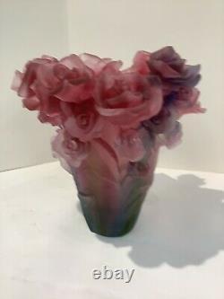 Vintage Magnificent Pate De Verre Rose Vase Pink-red Multi Ombré H7 Heavy 6.4lb