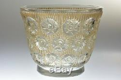Vintage R Lalique 1937 Brown Rust Patina Edelweiss Crystal Vase