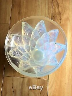 Vintage Sabino Vase France Art Deco 5 Fish'poissons' Opalescent Art Glass