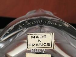 Vintage Signed LALIQUE Frosted Crystal Glass 7.5 NOAILLES Palm Leaf Frond Vase
