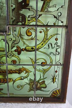 XL french stained glass window mythological art nouveau dragon vase birds rare